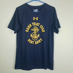Under Armour Youth XL US Navy Beat Army Football Shirt Top Heat Gear Loose Fit $12.00