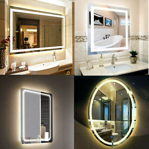 Designer Wall Hung Makeup Bathroom Illuminated LED Mirror Demister Touch Control