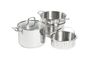 8 qt. Stainless Steel 4-Piece Multi-Cooker Stock Pot Steamer Pasta Cooker Lid