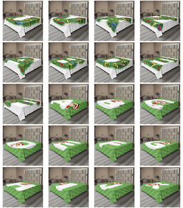 Ambesonne Christmas Letter Flat Sheet Top Sheet Decorative Bedding 6 Sizes