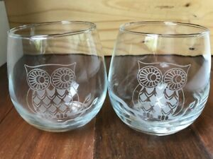 Set of Two 2 Etched Owl Stemless Wine Glasses 17 Ounces Cabin Mountain Decor