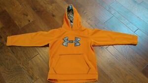 Under Armour Orange and Camo Hoodie Youth Large Pre owened $12.99