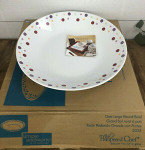 """Pampered Chef Simple Additions Dots Large Pasta Bowl 13-5/8"""" Serving #2033"""