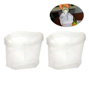 2x Reusable Food Nylon Filter Mesh Bag Milk Nut Juice Coffee Chees Strainer Tool