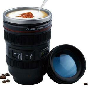 Creative 400ml Stainless steel liner Camera Lens Mugs Coffee Tea Cup Mugs With L