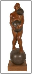 Michael Bergt Large Bronze Sculpture On A Roll Male Figurative Signed Artwork $5295.00