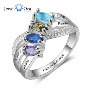 Gorgeous Custom Birsthstone Women Rings Mother Jewelry Gift Free Engrave Names