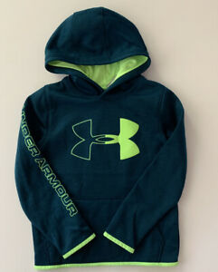 Under Armour Boys Hoodie Size Small Large 8 14 Logo ColdGear Teal Green $19.95