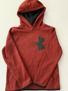 Under Armour Boys Hoodie Size Small Large 8 14 Logo ColdGear Red Black $19.95