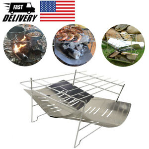 Camping Stove Barbecue Grill Cooking Rack Foldable Charcoal BBQ Grill Holder Set