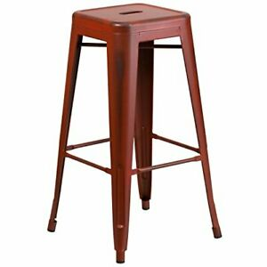 Flash Furniture 30'' High Backless Distressed (1 Pack|Distressed Kelly Red)