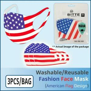 [Ships from USA] Fashion Protective Face Mask (American Flag Design) (3PCS/BAG)