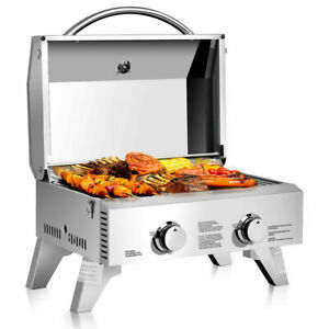 2 Burner Portable Stainless Steel BBQ Table Top Propane Gas Grill Outdoor Camp $139.95