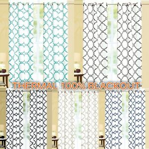 Geometric 100% Thermal Blackout Insulated Grommet Window Curtain Panel Heavy $10.59