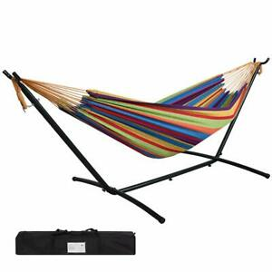 JUNELILY 9' Double Hammock with Steel Hammock Stand for Indoors and Outdoors