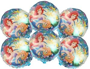 Set of 6 The Little Mermaid Princess Ariel Balloons Birthday Party Supplies