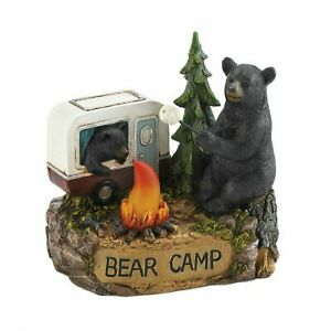 New Camping Bear Family Light Up Figurine Statue LED Home Decor Wildlife Garden