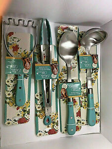 The Pioneer Woman Frontier Collection TEAL 4 PIECES All In One Kitchen Utensil