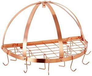 Old Dutch Half-Round Pot Rack with Grid & 12 Hooks, Copper, (Satin Copper)