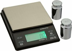 Bench Top Digital Scale 2000g x 0.1g Gold Herb Gems Gram Oz Calibration Weight $29.95