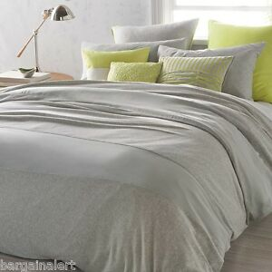 DKNY CITY FRACTION 3pc FULL QUEEN DUVET COVER HEATHER GRAY JERSEY KNIT BNIP