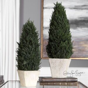 Uttermost - 60140 - Cypress - 18 inch Topiary (Set of 2)  Aged Stone/Terracotta