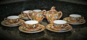 ANTIQUE JAPAN MORIAGE SATSUMA IMMORTALS HAND PAINTED TEA SET