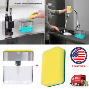 Soap Dispenser for Kitchen 2 in 1 Sponge Holder Quality Dish Soap Dispenser