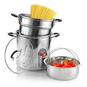 Cook N Home 02654 4-Piece Stainless Steel Pasta Cooker Steamer Multipots, 12 Qua