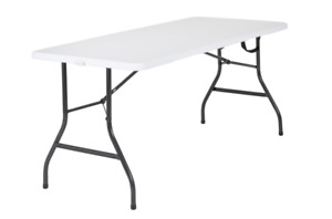 5 Ft Folding Table Centerfold Portable Outdoor Picnic Indoor Plastic Party White