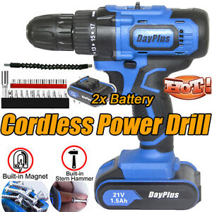 Cordless Drill 21V Set Driver Screwdriver 2x Lithium Ion Battery LED Power Tools