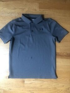 Under Armour Heat Gear Youth Boy's Polo Shirt Gray Size Large EUC 634 $6.00