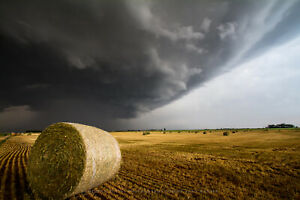 Photography Print of Golden Hay Bale Under Storm in Kansas $210.00