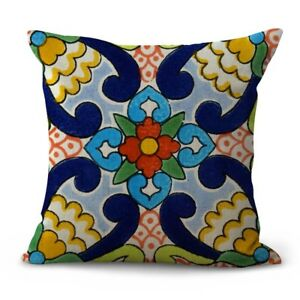Mexican Spanish talavera cushion cover throw pillow cover $14.89