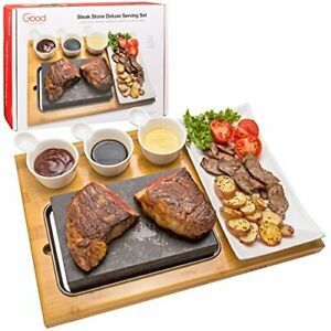 Cooking Stone- Lava Hot Steak Stone Plate and Cold Lava Rock Hibachi Grilling
