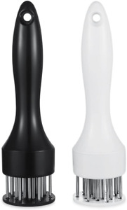 Meat Tenderizer With Stainless Steel Prongs And Cleaning Brush Black/White Pack