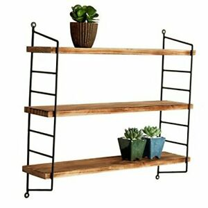 23-Inch Modern Industrial Metal and Torched Wood Adjustable Wall Mounted 3-Tier