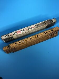 "Lot Of 2 Vintage Folding Rulers Lufkin 2 way Red End Heavy Duty MADE USA 72"" $11.50"