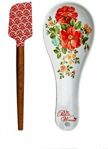 New The Pioneer Woman 2 Piece Spoon Rest and Spatula Set in Vintage Floral