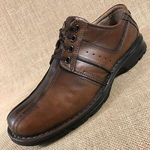 CLARKS Oxfords Leather Brown Bicycle Toe Tie Up Mens Size 12 M $34.99