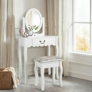 White Vanity Dressing Table Set With Drawer Mirror Stool Makeup Desk Bedroom