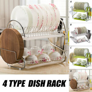 2-Tier Dish Rack Dish Drying Rack Kitchen Drainer Cutting Board / Cup Holder