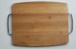 14 x12 Wooden Cutting Board with Serving Handles 100% Bamboo Veggie Cheese Meat