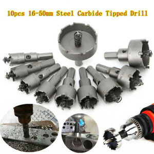 10x Carbide Tip TCT Drill Bit Hole Saw Set Stainless Steel Metal Alloy 16-50mm