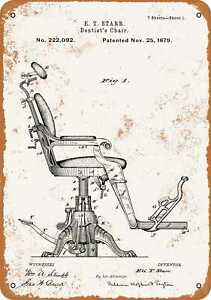 7x10 Metal Sign - 1879 Dentist Chair Patent - Rusty Look