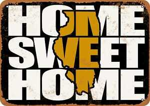 10x14 Metal Sign - Home Sweet Home Illinois Black Gold - Rusty Look