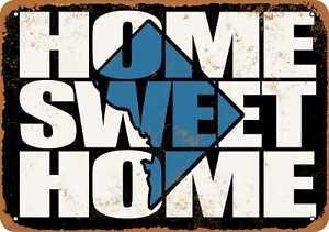 10x14 Metal Sign - Home Sweet Home Dc Black Blue - Rusty Look