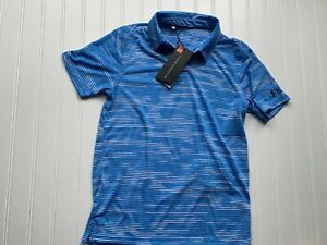 Under Armour Boys Youth Large Performance Polo Golf Collared Shirt Striped NEW $29.99