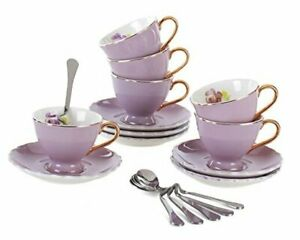 Jusalpha Porcelain Tea Cup and Saucer Coffee Cup Set with Saucer and Spoon Set o