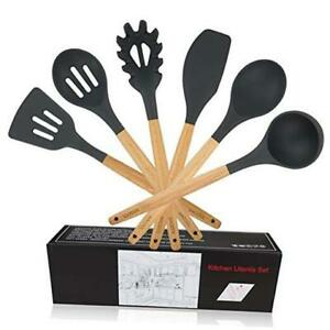 WACOOL 6 Piece Silicone Cooking Kitchen Utensil Set Tools with Wood Handles Turn